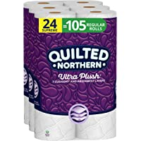 Quilted Northern Ultra Plush Toilet Paper, 24 Supreme Rolls, 24 = 105 Regular Rolls, 3 Ply Bath Tissue,8 Count (Pack of…