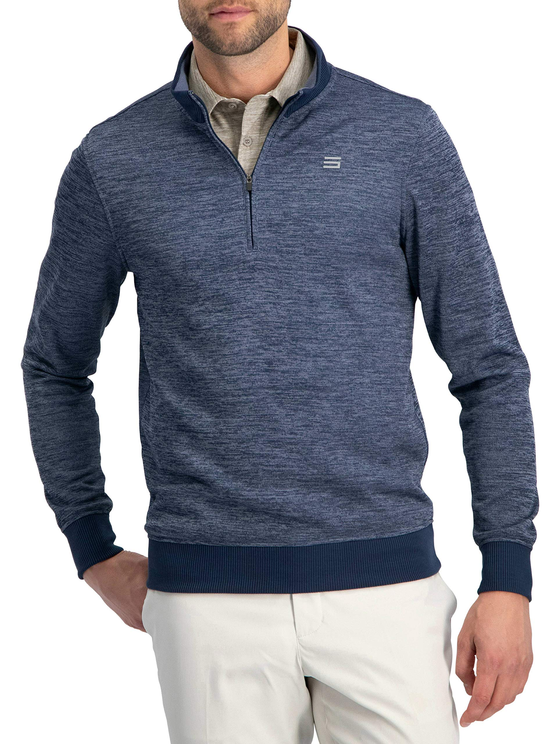 Dry Fit Pullover Sweaters for Men - Quarter Zip Fleece Golf Jacket - Tailored Fit Deep Navy by Three Sixty Six