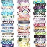 48 Rolls Washi Tape Set - 8mm Wide Decorative Masking Tape, Colorful Flower Style Design for DIY Craft Scrapbooking Gift Wrap