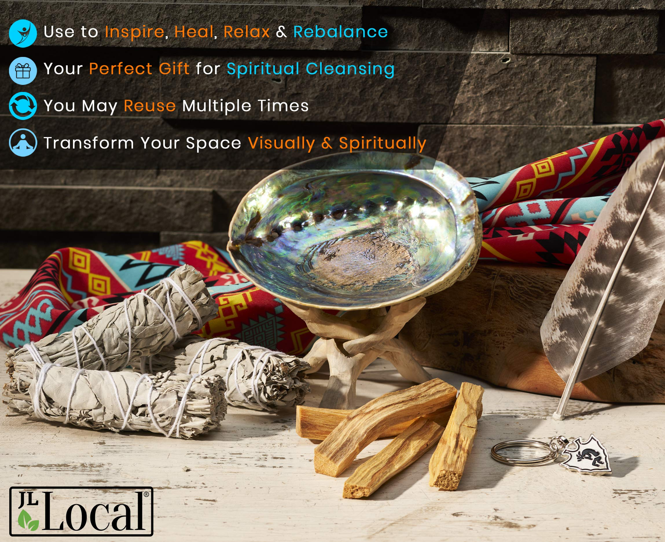 JL Local Smudge Kit - Sage, Palo Santo, Abalone Shell, Feather + More! Yoga, Meditating, Purify, Cleanse by JL Local (Image #3)