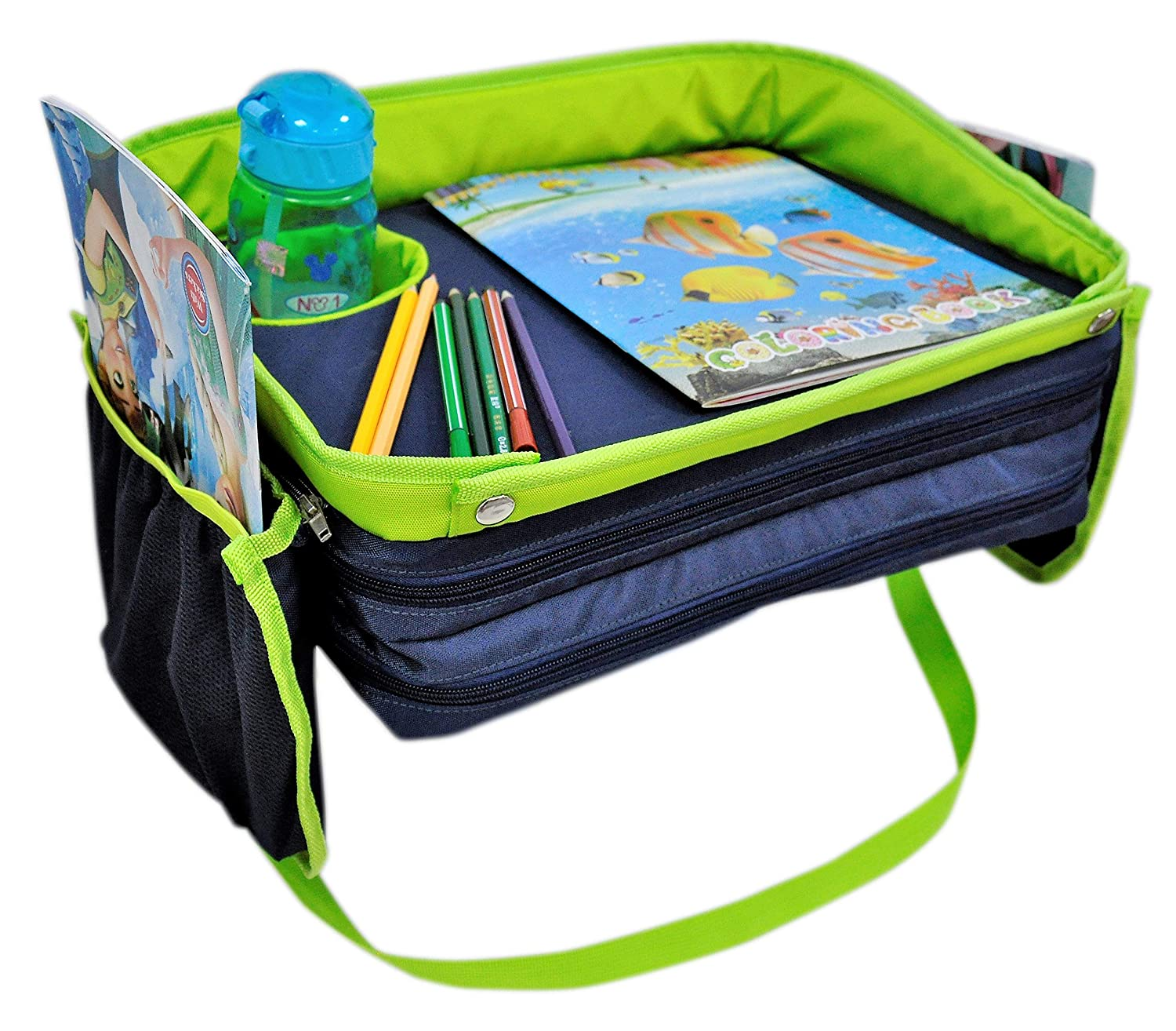 Kids旅行トレイfor Car Seat – Exclusive 4 x頑丈です壁N 2 X Deeperカップホルダー – Extra Wide Organizer Lap Tray for Baby旅行 – Eat N Play Station For旅行toddlers-forベビーカーブースターホーム   B071JVZT32