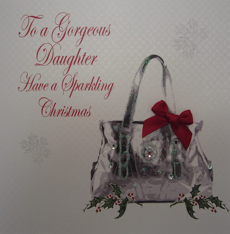 dise/ño de tarjeta de Navidad White Cotton Cards Daughter tienen un Gorgeous Elegance-Bolso de mano hecha a mano