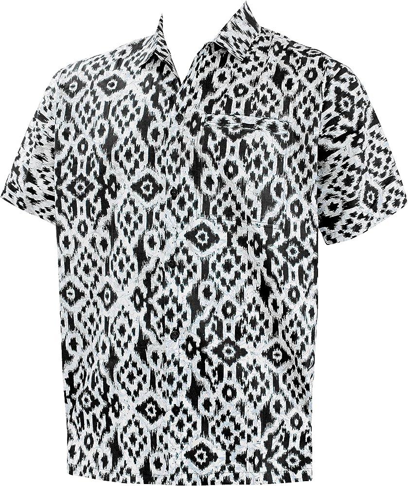 LA LEELA Casual Hawaiana Camisa para Hombre Señores Manga Corta Bolsillo Delantero Surf Palmeras Caballeros Playa Aloha XS-(in cms):91-96 Halloween Negro_W724: Amazon.es: Ropa y accesorios