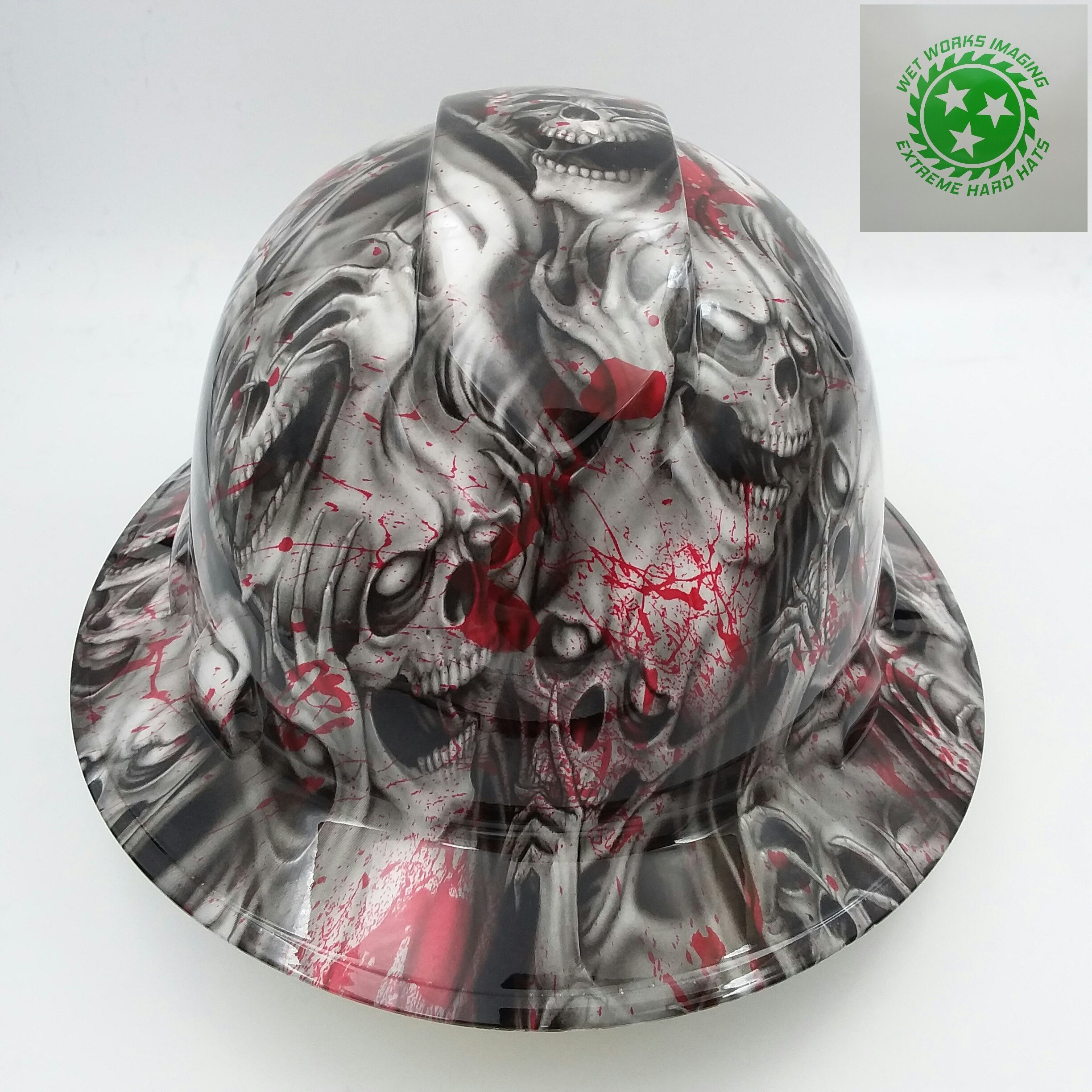 Wet Works Imaging Customized Pyramex Full Brim Blood Skulls Hard Hat With Ratcheting Suspension