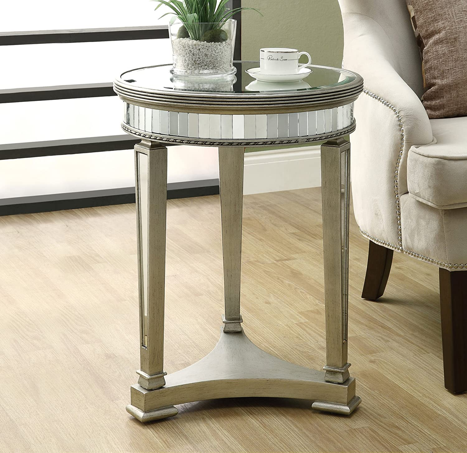 Amazon com monarch specialties diameter accent table 20 inch mirrored kitchen dining