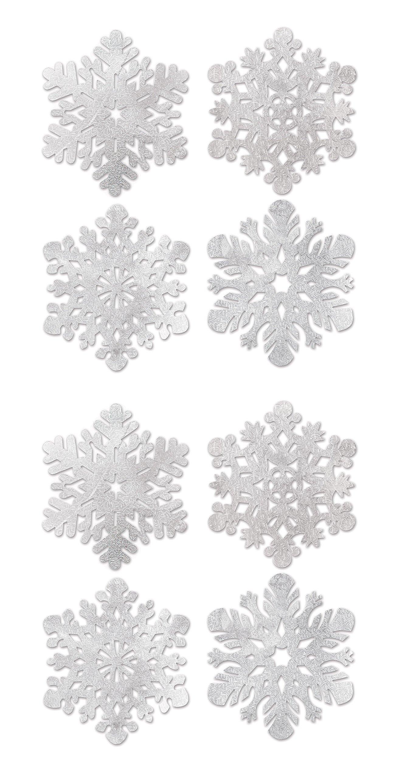 Beistle S22932AZ2, 8 Piece Foil Snowflake Cutouts, 14'' (Silver) by Beistle