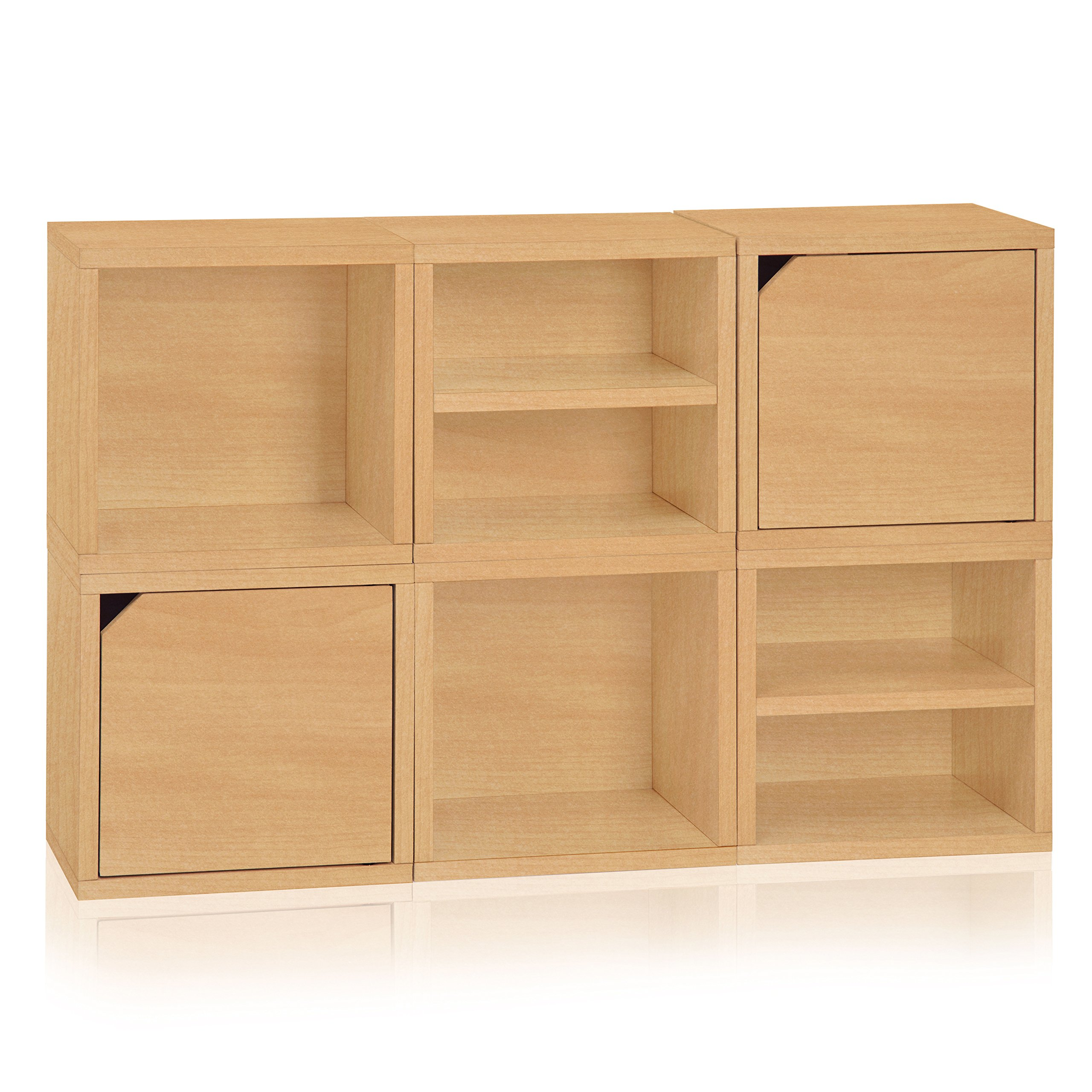Way Basics 6 ​Modular 3​-​in​-​1 Shelf Connect Cube Storage System, Natural Wood Grain (made from sustainable non-toxic zBoard paperboard)