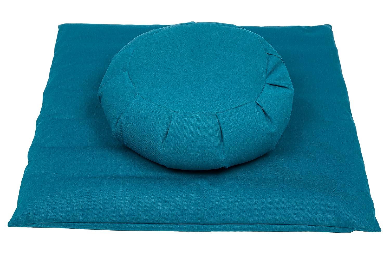 Meditationsset mit Füllung aus Buchweizenspelz (Zafu + Zabuton) petrol blau