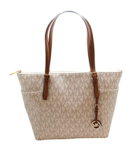 d6a7f9ae8fb2a0 Amazon.com: Michael Kors Jet Set Item Large East West Signature Top Zip PVC  Tote (Vanilla/Acorn) 35S8GTTT9B-149: Shoes