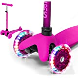 Rugged Racers Pink Kick Scooter for Boys & Girls 3 Wheel Scooter, Kick Scooter for Kids with LED Light PU Wheels, Step Brake, Lean 2 Turn, Ride on Toys for Children 3 Year Plus