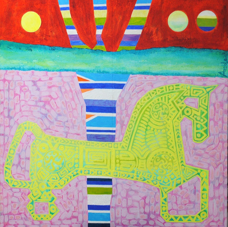 Caballo Celta (120 x 119 cm) Cuadro original, pintura (painting) en lienzo (canvas) bastidor de madera, Acrílico y Óleo, pintado a mano, arte contemporáneo figurativo, decoración hogar, regalo para pa