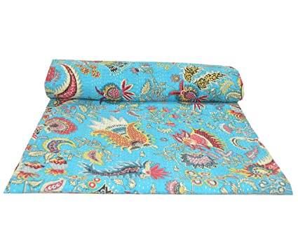 Amazon Com Sultan Handicrafts Turquoise Indian Cotton Bed Sheet