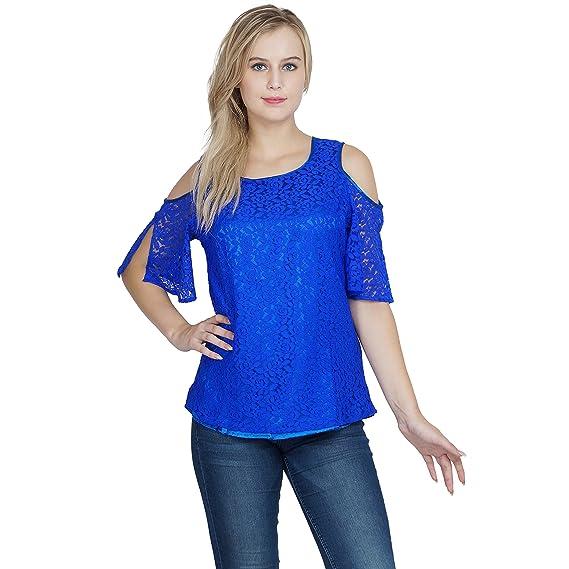 e9fbcd9b0a7 Patrorna Blended Girl's Cold Shoulder Empire Line Tops in Royal Blue (Size  2-3