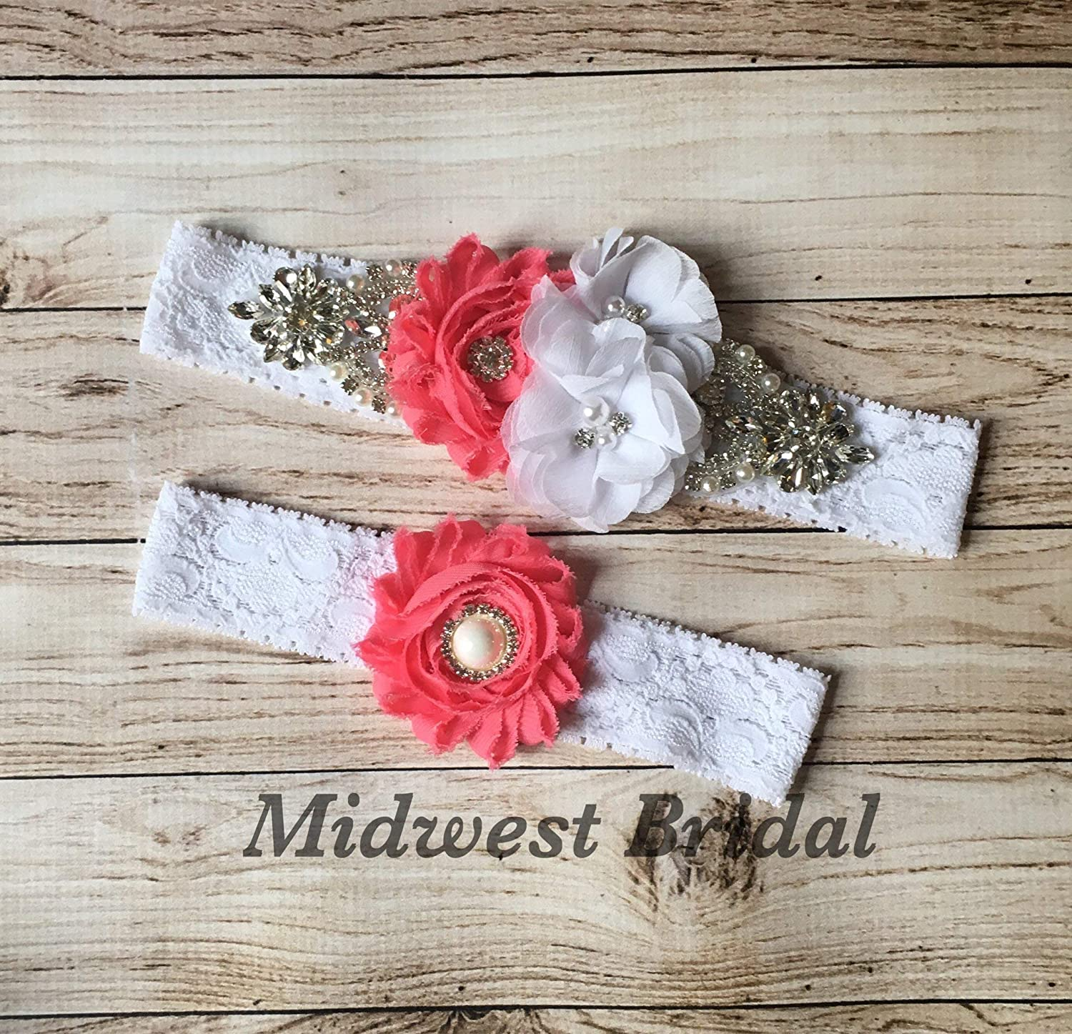 White or Ivory Lace red turquoise   Rhinestone Pearl Custom Wedding Garter set Vintage wedding coral navy red mint You pick colors