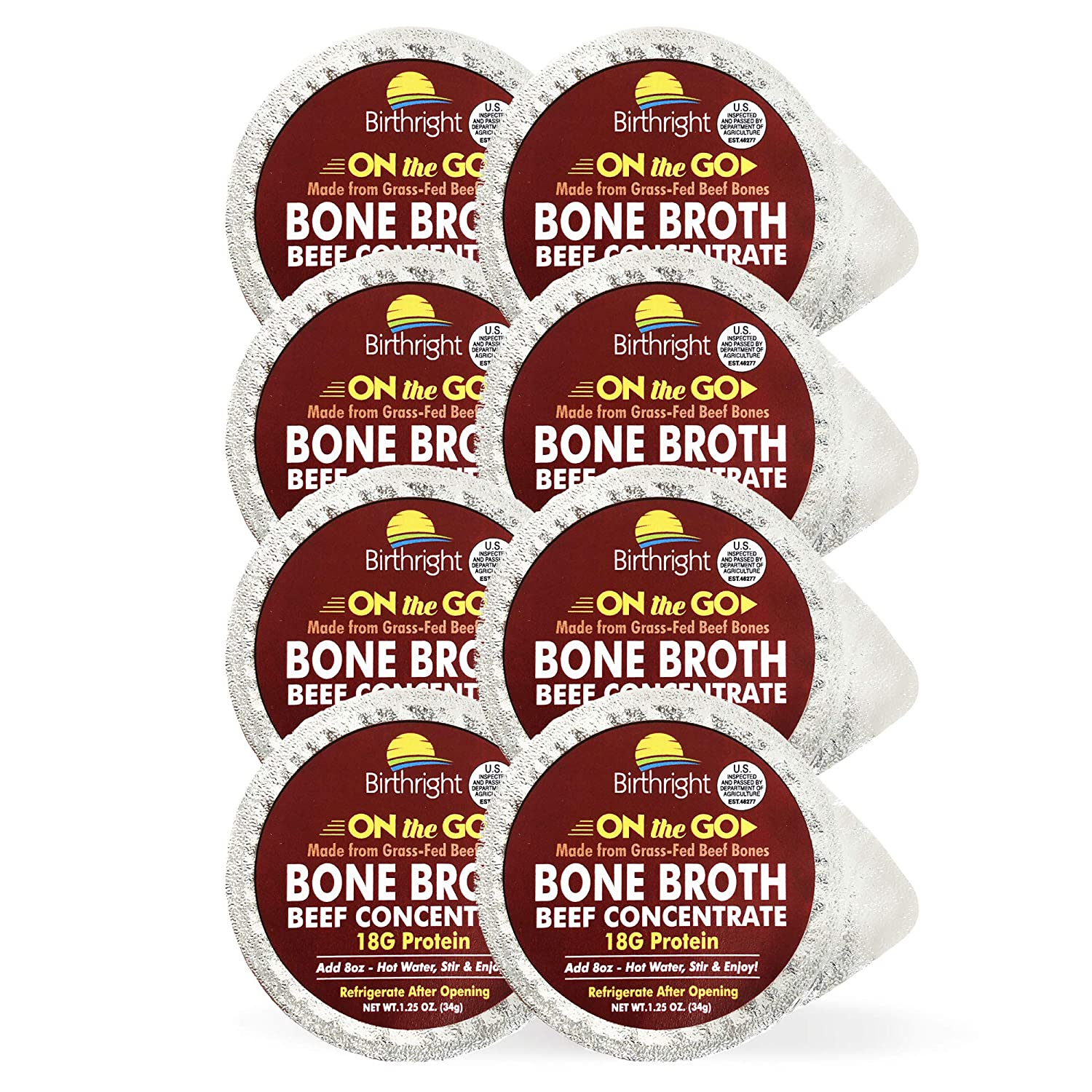 Grass Fed Beef Bone Broth, On-the-Go Beef Broth with Keto Collagen, Keto Protein Beef Bouillon, Paleo Protein Beef Stock Concentrate, 8-Pack Single Serve - Birthright