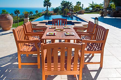 VIFAH V187Set27 Outdoor Seven-Piece Wood Dining Set