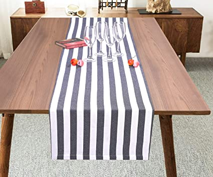 Ramanta Home Classic French Stripe Cotton Table Runner For Family Dinners Or Gatherings Indoor Or Outdoor Parties Everyday Use Wedding Table