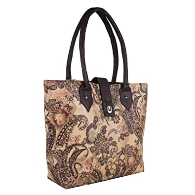 97a3e9735 Kreative Bags Printed HandBag Big For Womens/Girls PU Leather Bag Brown  Color