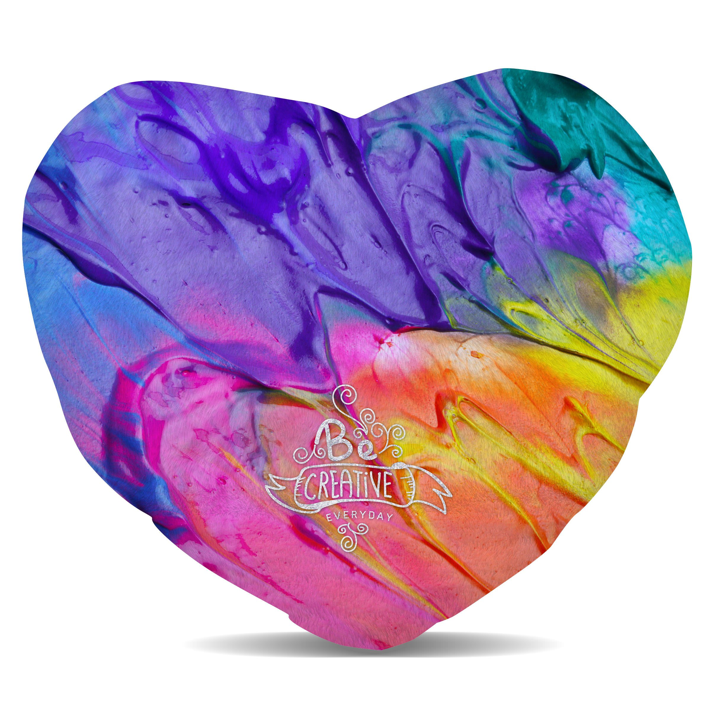 Queen of Cases Be Creative Every Day Fleece Cushion - Heart Cushion - 16in by Queen of Cases