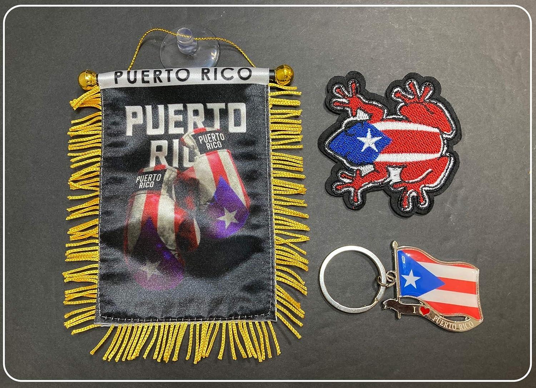 Puerto Rico, Boricua, Puerto Rican Style, 3pc Boricua Hookup, Puerto Rico Car Flags, Boxing Glove, Puerto rico car Flag