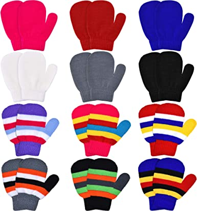 Multicoloured L 12 Pairs Toddler Baby Stretch Full Finger Mittens Kid Knitted Winter Warm Gloves