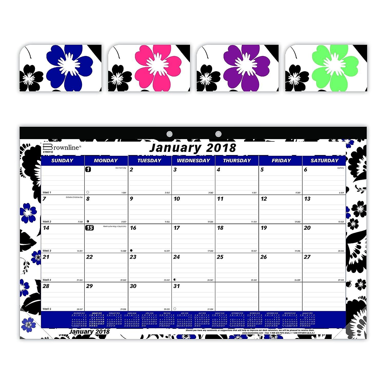 Brownline 2018月毎のカラフルな卓上カレンダー、花、17.75 x 10.875インチ(C195112-18)   B071L8K3R7