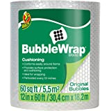 "Duck Brand Bubble Wrap Roll, 3/16"" Original Bubble Cushioning, 12"" x 60', Perforated Every 12"" (1061835)"