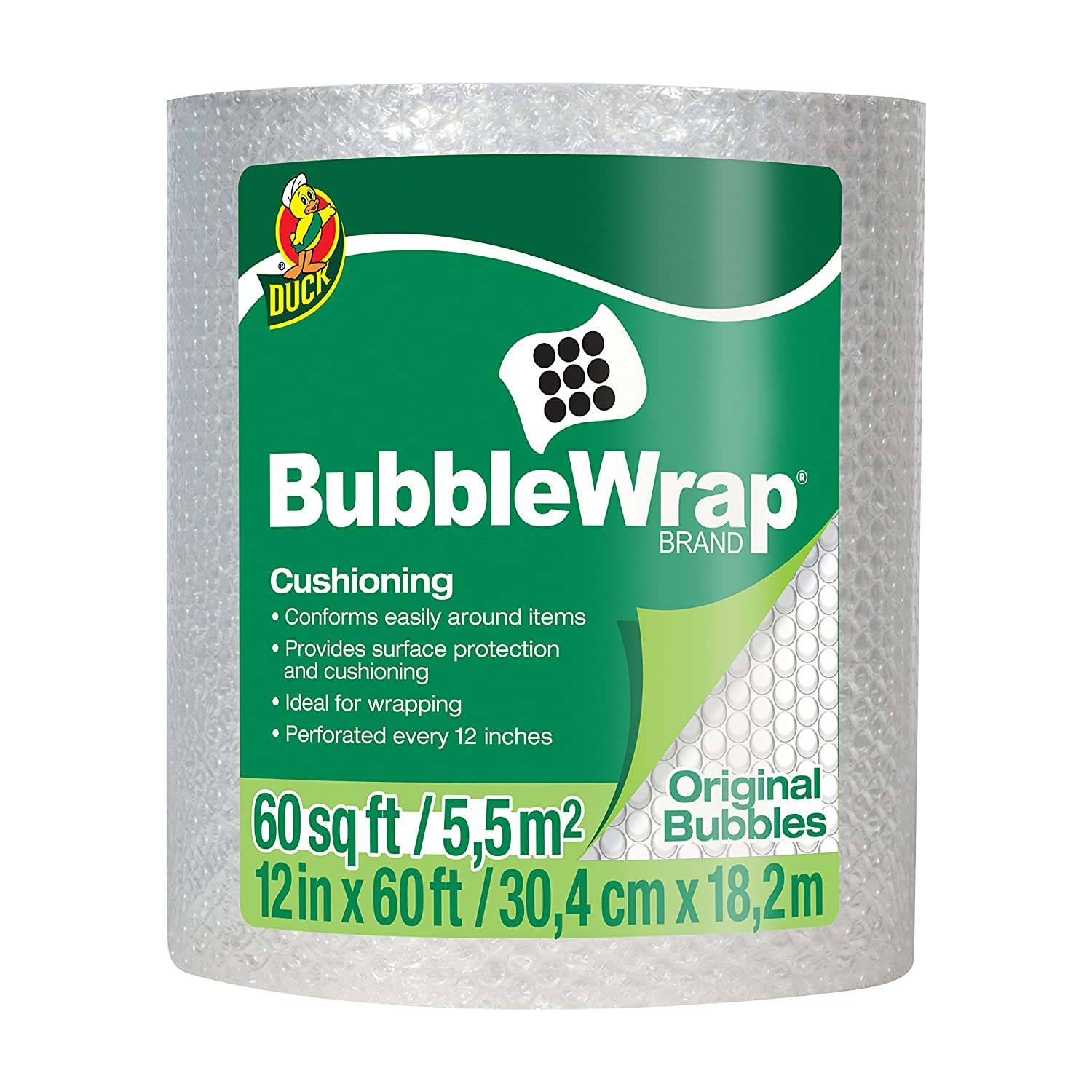 Duck Brand Bubble Wrap Original Cushioning, 12 Widex60' Long, Single Roll (1061835), Clear 12 Widex60' Long