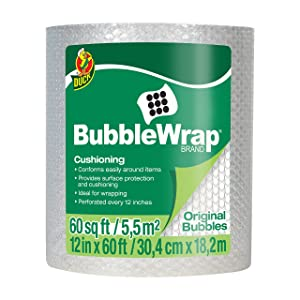 "Duck Brand Bubble Wrap Roll, Original Bubble Cushioning, 12"" x 60', Perforated Every 12"" (1061835)"