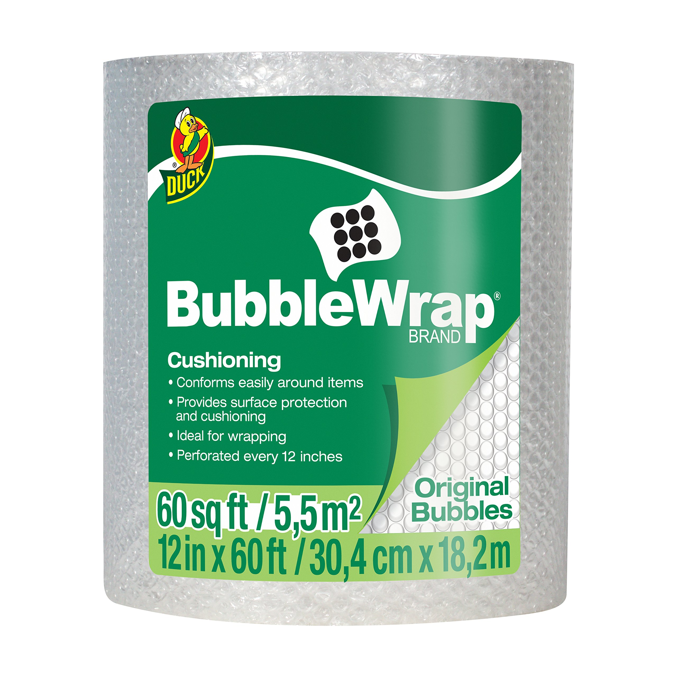 Duck Brand Bubble Wrap Roll, 3/16'' Original Bubble Cushioning, 12'' x 60', Perforated Every 12'' (1061835)