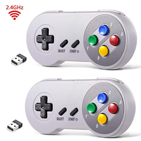 2 Pack 2 4 GHz Wireless USB Controller Compatible with Super Famicom Games,  iNNEXT SNES Retro USB PC Super Classic Controller for Windows PC MAC Linux