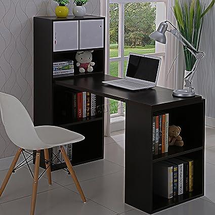 KMS FoxHunter – Juego multifunción escritorio de ordenador con 2 grandes estantería estantes PC mesa escritorio estación de trabajo muebles de oficina estudio hogar Morden CD08 negro: Amazon.es: Oficina y papelería