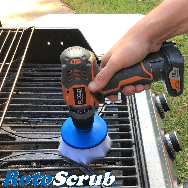 RotoScrub Bathroom Cleaning Scrub Pads Drill Accessory Combo Kit Drill Powered Scrub Brush