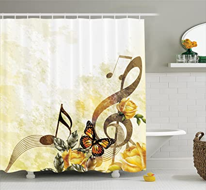 Ambesonne Music Shower Curtain Roses Romantic Antiquity Victorian Classic Bridal Floral Illustration Fabric