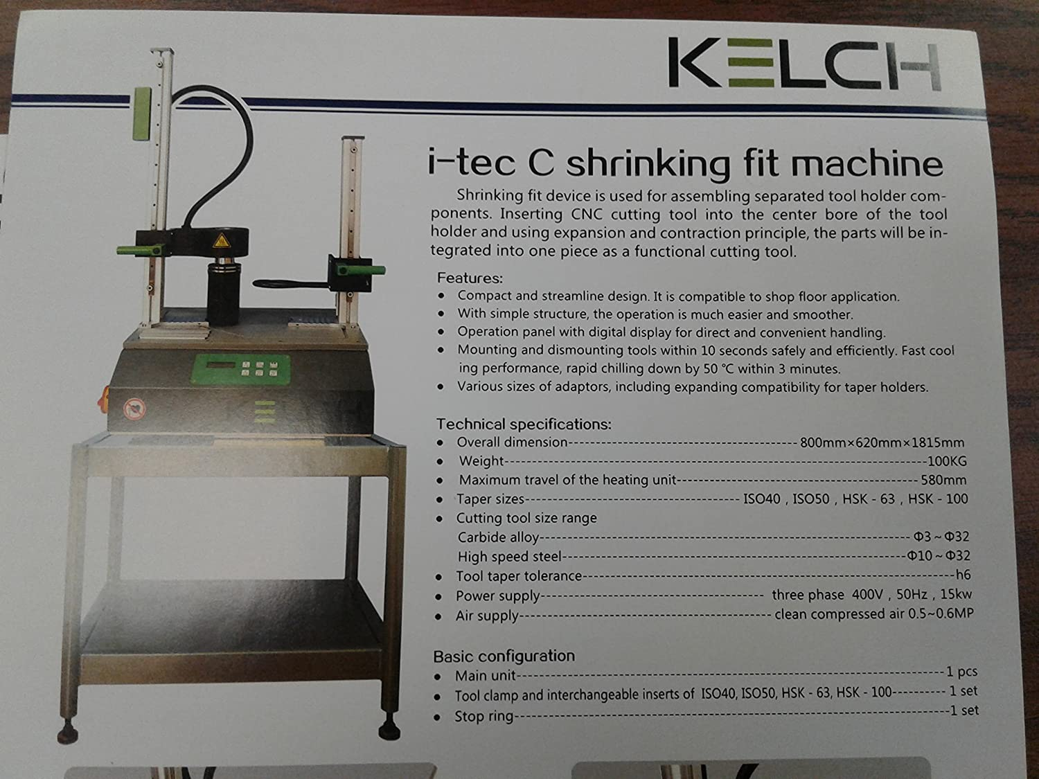 3//4 Shrink Fit CAT40 end Mill Holder Germany KELCH Brand G2.5//25000RPM-new