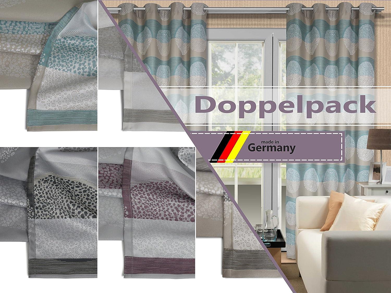 Doppelpack zum Sparpreis - blickdicht gewebte Ösenschals Lounge Lounge Lounge von deko trends - Markenqualität made in Germany - erhältlich in 5 Farbkombinationen, türkis ede156