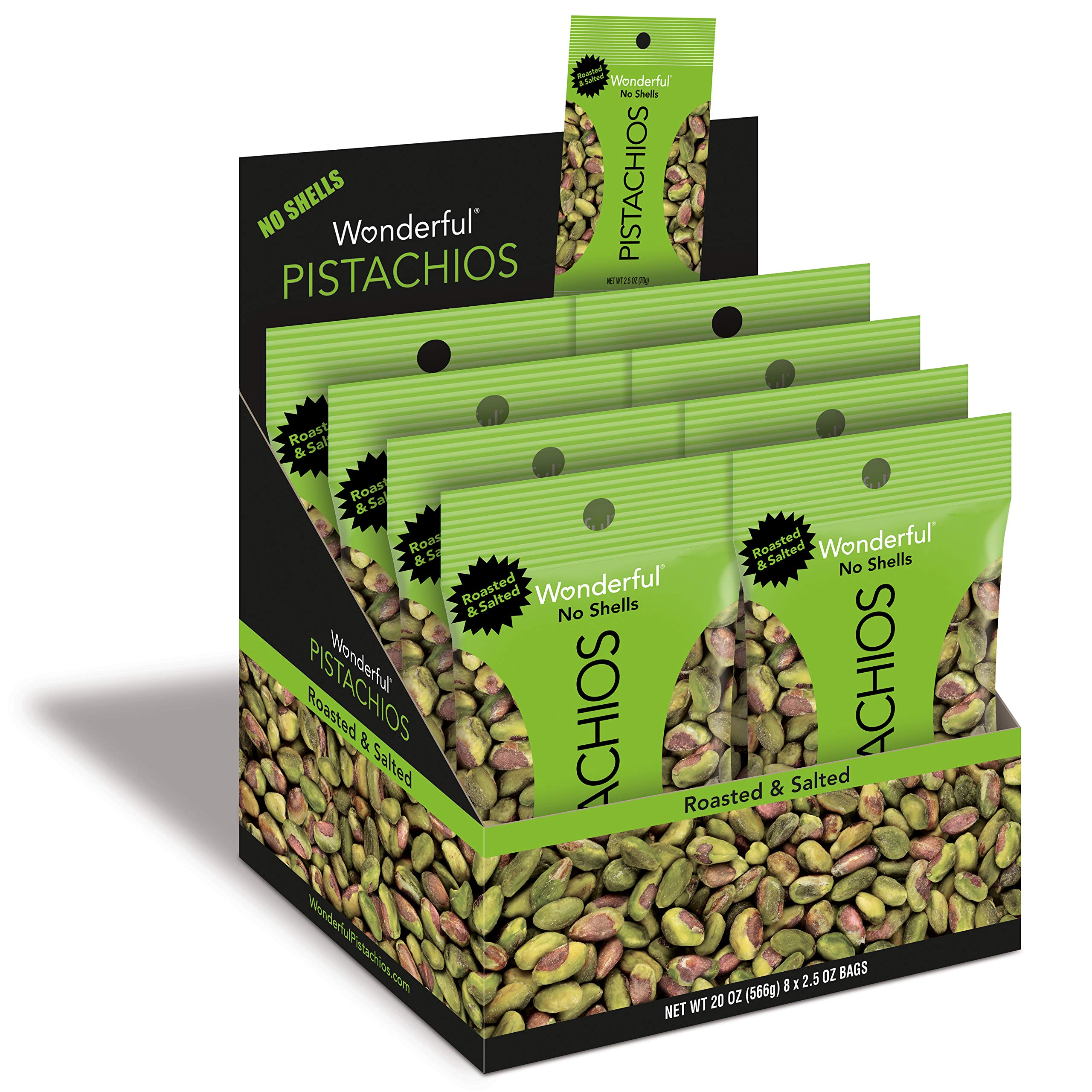 Wonderful Pistachios, No-Shell, Roasted and Salted, 2.5 Ounce Bag (Pack of 8) by Wonderful Pistachios & Almonds (Image #1)