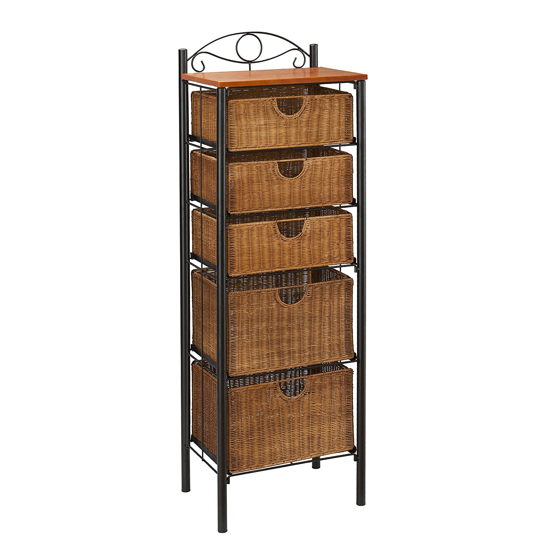 Amazon.com: Southern Enterprises 5 Drawer Storage Unit with Wicker ...