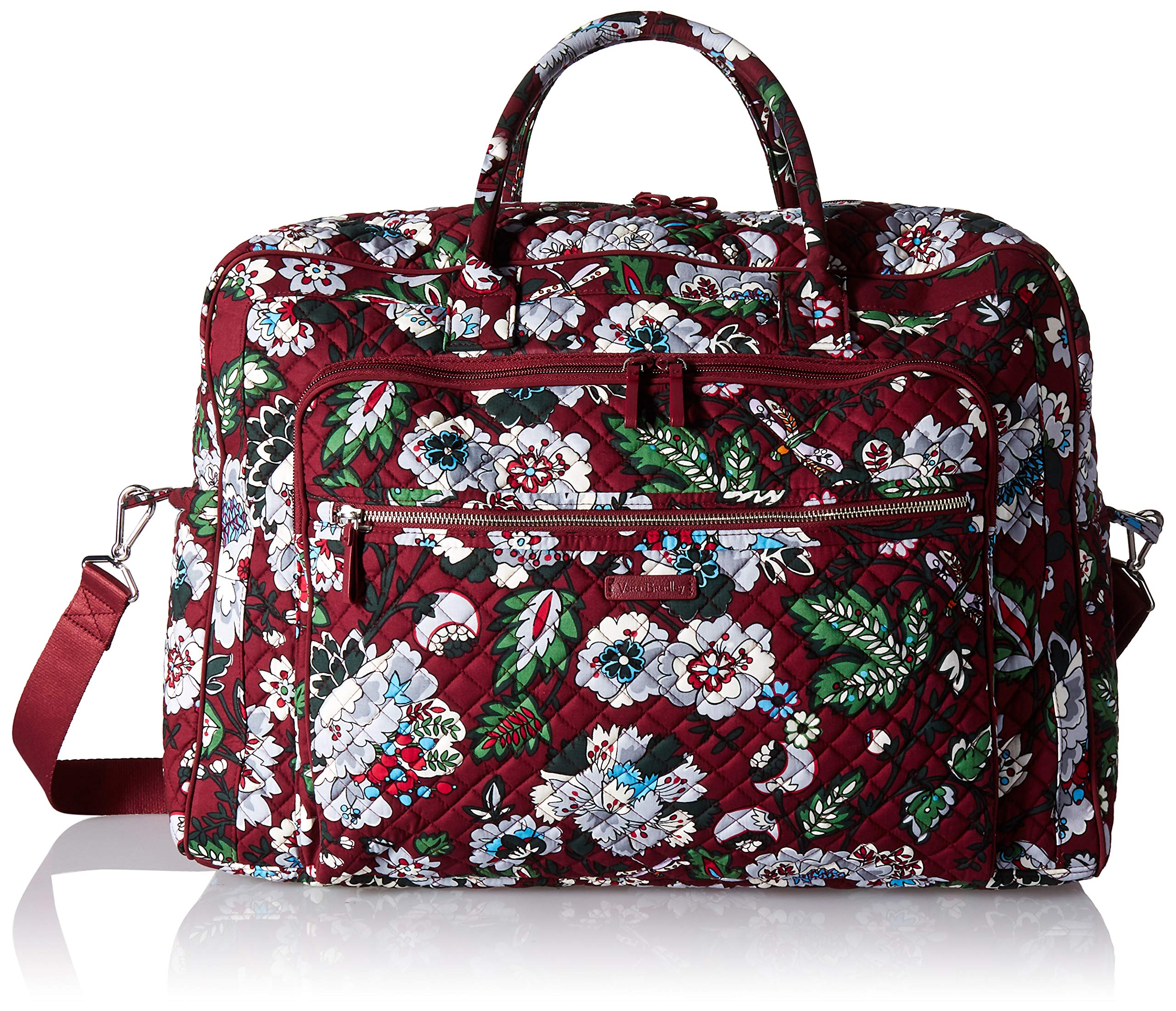 Vera Bradley Iconic Grand Weekender Travel Bag, Signature Cotton, bordeaux blooms by Vera Bradley (Image #2)