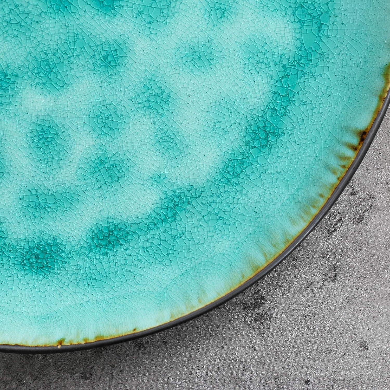 6 Platos y 3 Plato Grande vancasso Serie Aqua Juego de Vajillas Esmaltadas Gres Vajilla Irregular de 33 Piezas Azul Turquesa para 12 Personas 12 Cuencos 12 Plato de Salsa