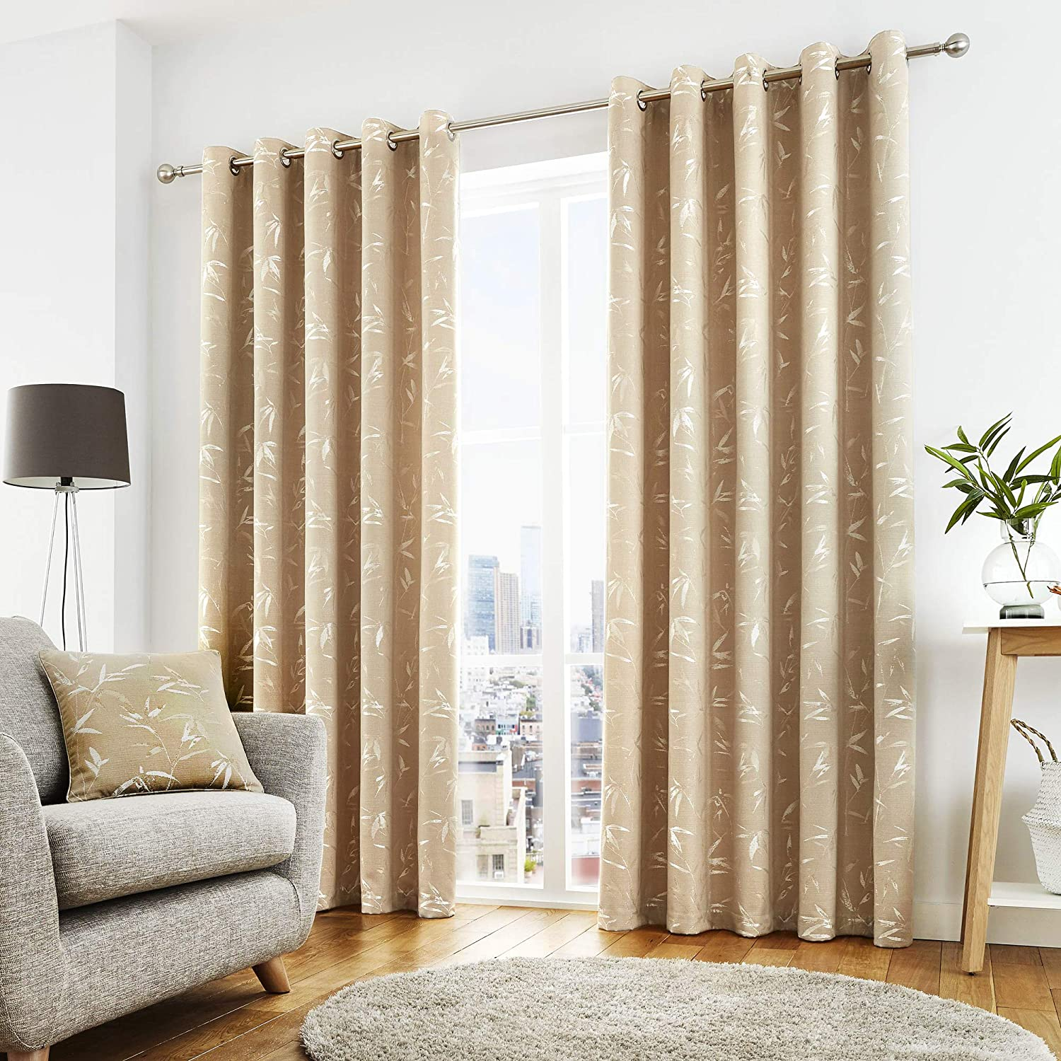 Curtina - Sagano - Ready Made Lined Eyelet Curtains - 46