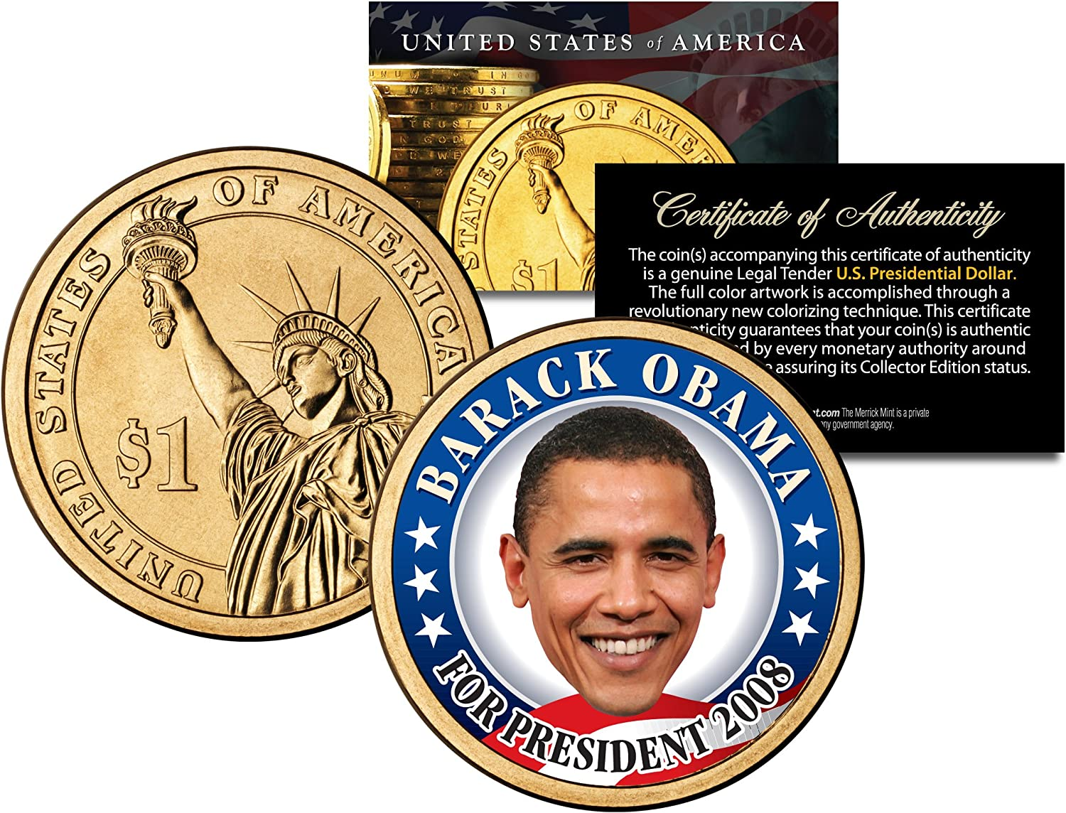 President Barack Obama 3 Piece Colorized Coin Quarter Collection State Quarters