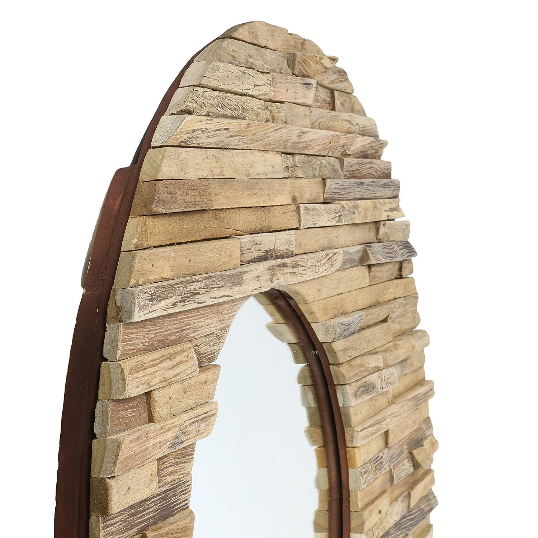 Amazon.de: Runder Spiegel mit Rahmen aus Holzstücken Sonne Massiv ...