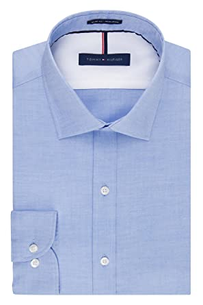 8f91d2539 Tommy Hilfiger Men's Non Iron Slim Fit Solid Spread Collar Dress Shirt, Blue,  14.5""