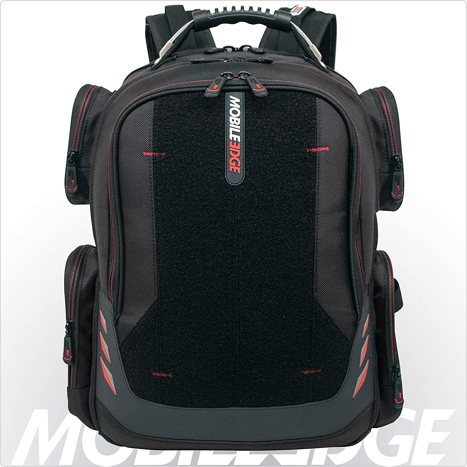 Core Gaming Laptop Backpack From Mobile Edge Core Gaming, 17.3 Inch, External USB 3.0 Quick-Charge Port w/Built-in Charging Cable, Patch Panel - Black w/Red Trim - MECGBPV1
