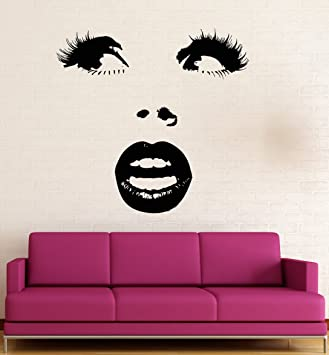 Amazoncom Vinyl Wall Decal Beautiful Woman Face Eyes Lips Sexy - Wall decals eyes