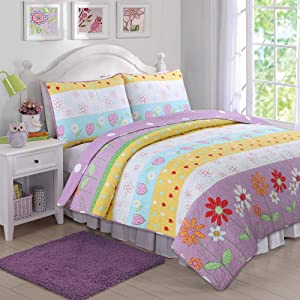 Cozy Line Home Fashions Floral Heart Print Reversible Girl Bedding Quilt Set, Bedspread, Coverlet (Flower Garden, Twin - 2 Piece)