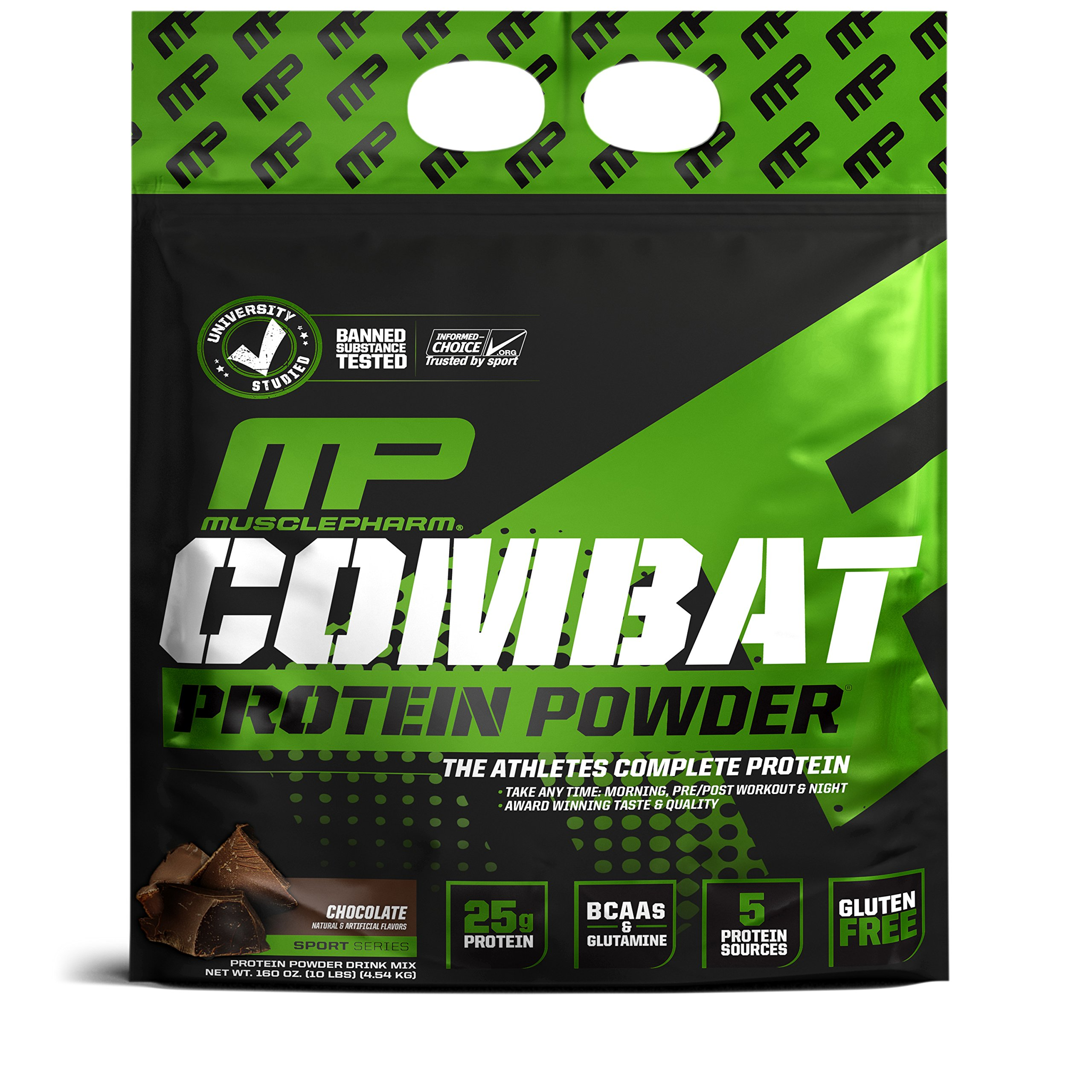 MusclePharm Combat Protein Powder, Essential Whey Protein Powder, Isolate Whey Protein, Casein and Egg Protein with BCAAs and Glutamine for Recovery, Chocolate Milk, 10-Pound, 129 Servings by Muscle Pharm (Image #1)