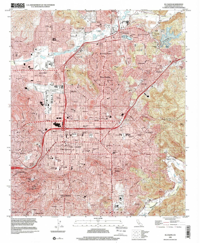 Amazon.com : YellowMaps El Cajon CA topo map, 1:24000 Scale, 7.5 X on