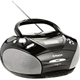 auna RCD220 Boombox stereo portatile con lettore CD e mangianastri per cassette (ingresso USB MP3 e radio OUC integrata, display LCD, AUX, sveglia) - nero
